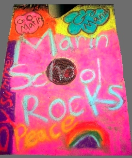 Marin School             Rocks chalk drawing